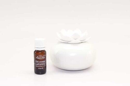 difuzor de aromaterapie Lotus alb-alb + ulei