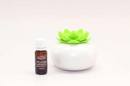 Difuzor de aromaterapie Lotus verde alb cu ulei